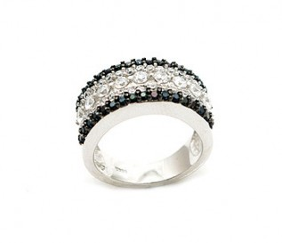Black And White CZ Silver 5 Row Band