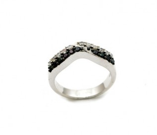 Black And White CZ Silver Wishbone Ring