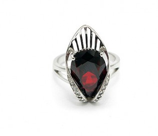 Deep Red CZ Silver Crown Ring