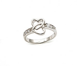 CZ Silver Entwined Heart Ring