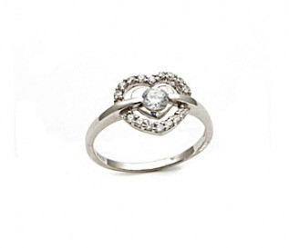 CZ Silver Enclosed In Heart Ring