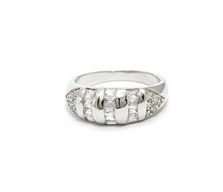 Baguette And Round CZ Silver Band