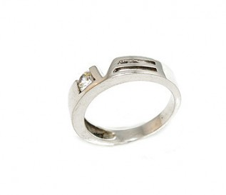CZ Silver Love Ring