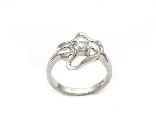 CZ Silver Abstract Flower Ring