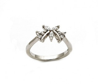 CZ Silver Butterfly Ring