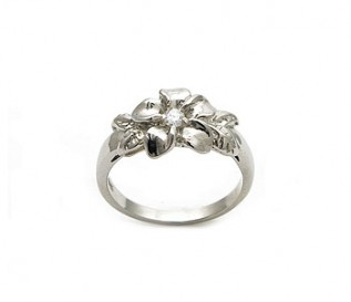 Delicate CZ Silver Flower Ring