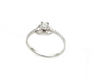 Delicate CZ Silver Engagement Ring