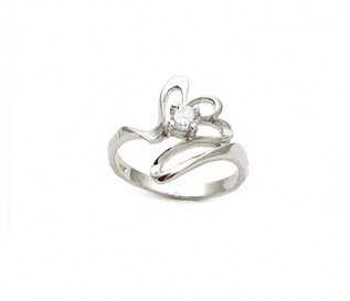 CZ Silver Abstract Design Ring