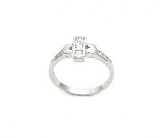 Delicate CZ Silver Double Heart Ring