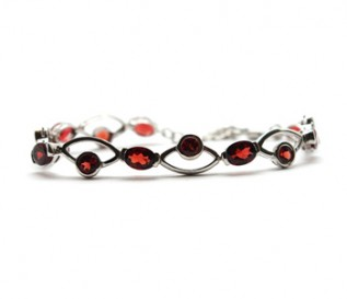 Garnet Silver Eye Design Bracelet