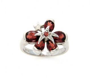 Garnet Silver Flower & Star Ring