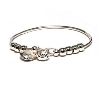 Children's Silver Expanding Charm Bangle