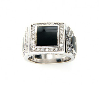 Bold Men's Silver Enamelled Signet Ring with Cz