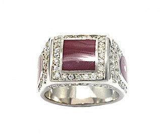 Bold Men's Silver Brown Enamelled Signet Ring with Cz