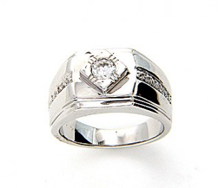 Bold Men's Silver Signet Ring with CZ