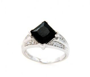 Princess Cut Onyx & Cubic Zirconia Silver Ring