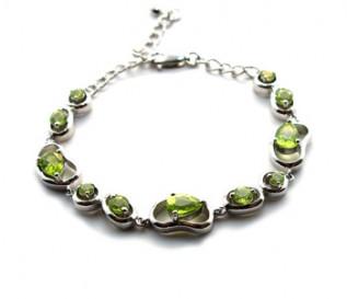 Peridot Silver Beans Bracelet
