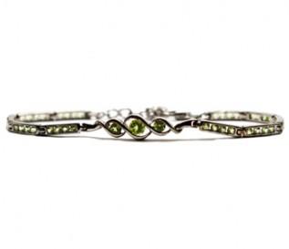 Peridot Silver Curvy Bracelet