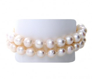 2 Strand 7-8mm White Pearl Bracelet with 14k Gold Clasp