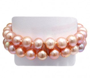 2 Strand 7-8mm Pink Pearl Bracelet with 14k Gold Clasp