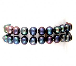 2 Strand 7-8mm Black Pearl Bracelet with 14k Gold Clasp