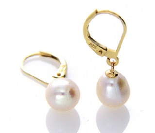 9ct Gold White Pearl Leverback Earrings