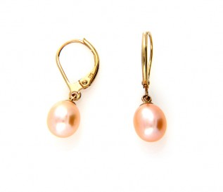 9ct Gold Pink Pearl Leverback Earrings