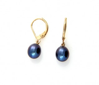 9ct Gold Black Pearl Leverback Earrings