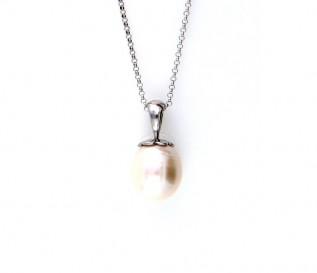 14K White Gold Freshwater Pearl Acorn Top Pendant