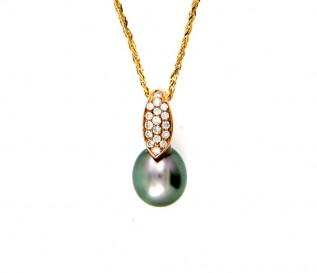 18K Yellow Gold Tahition Pearl 0.36ct Diamond Pendant