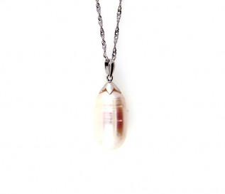 14K White Gold Freshwater Pearl Pendant