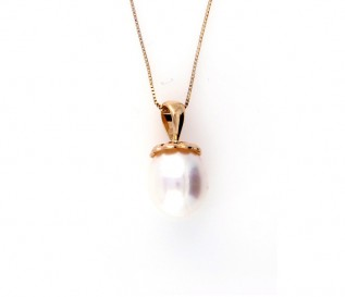 14K yellow Gold Freshwater Pearl Acorn Top Pendant