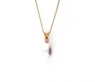 14K Yellow Gold freshwater Pearl Diamond Drop Pendant