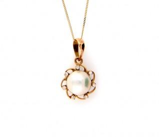 18K Yellow Gold Freshwater Pearl 0.07ct Diamond Sun Pendant