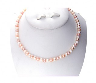 6-7mm Round Multicolour Pearl 16 Inch Necklace with 14k Gold Clasp