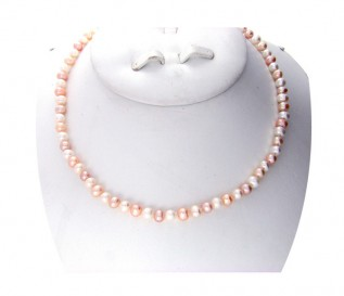6-7mm Round Multicolour Pearl 18 Inch Necklace with 14k Gold Clasp