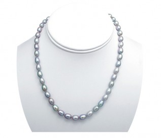 6-7mm Drop Grey Pearl 16 Inch Necklace with 14k Gold Clasp