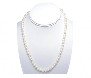 6-7mm Round White Pearl 16 inch Necklace with 14k Gold Clasp