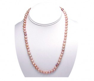 6-7mm Round Pink Pearl 18 Inch Necklace with 14k Gold Clasp