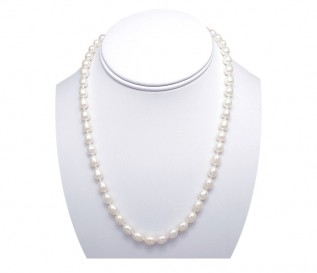 6-7mm Drop White Pearl Necklace with 14k Gold Clasp