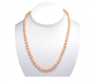 6-7mm Round Peach Pearl 20 Inch Necklace with 14k Gold Clasp