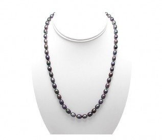 6-7mm Drop Black Pearl 18 Inch Necklace with 14K Gold Clasp