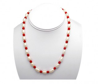 7-8mm White Pearl Necklace with Coral