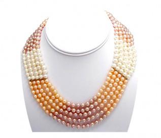 4-5mm Multicolour Pearl 5 Strand Necklace