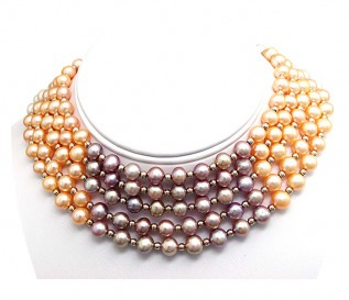 7-8mm Round  Multicolour Pearl Five Strand Necklace