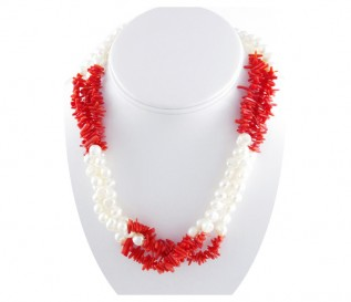 6-7mm White Pearl 3 Strand Necklace with Coral