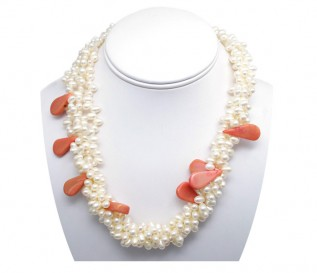 3-4mm White Pearl Necklace with Agate