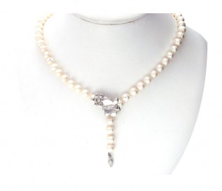 7-8mm Round White Pearl Adjustable Necklace