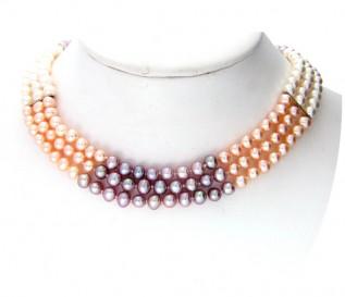 4-5mm Multicolour Pearl 3 Strand Necklace
