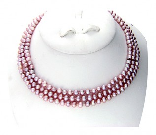 6-7mm Round Pink Pearl 3 Strand Necklace